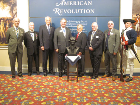 Photo of dedication of Rochambeau bust at JYF